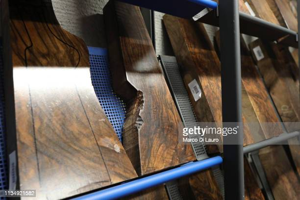 The most precious pieces of wood for gunshot stock of the Perazzi production are seen on April 4 2019 at the Perazzi Armi factory in Botticino...
