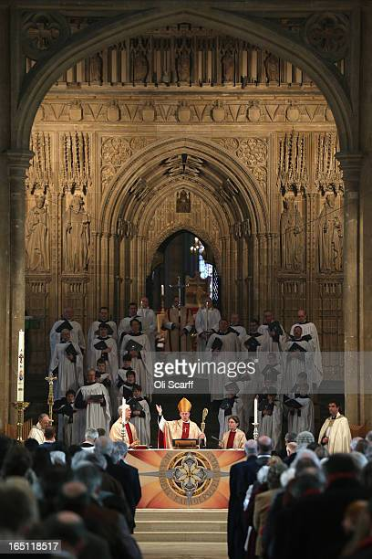 The Most Rev and Rt Hon Justin Welby the Lord Archbishop of Canterbury leads the Easter Sunday service at Canterbury Cathedral on March 31 2013 in...