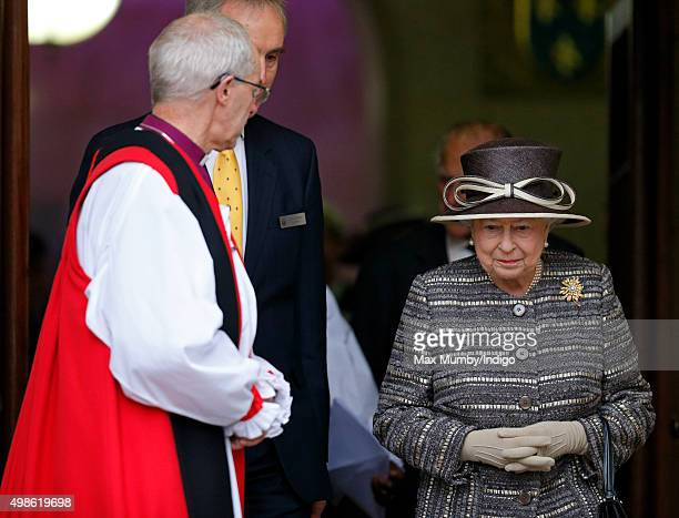 The Most Reverend Justin Welby Archbishop of Canterbury looks on as Queen Elizabeth II departs Church House after attending the Inauguration of the...
