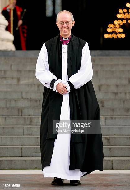 The Most Reverend Justin Welby Archbishop of Canterbury stands on the steps of St Paul's Cathedral after attending a service confirming him as the...