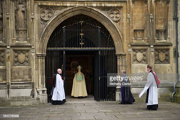 The Most Reverend Justin Welby arrives for his enthronement as Archbishop of Canterbury at Canterbury Cathedral on March 21, 2013 in Canterbury,...