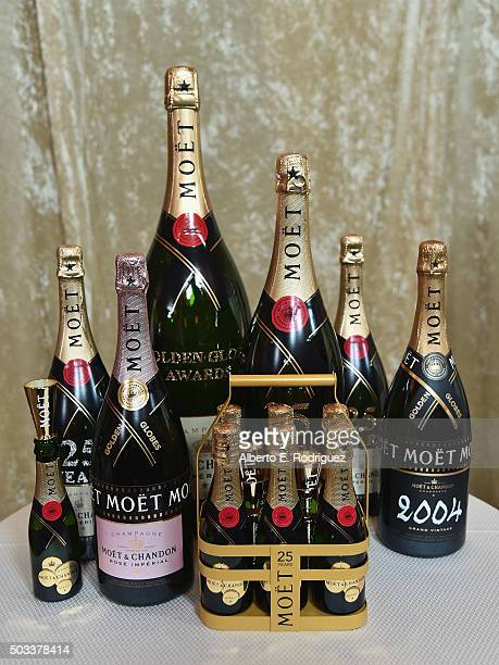 The Moët Chandon display at the 73rd Golden Globes Menu Preview at The Beverly Hilton Hotel on January 4 2016 in Beverly Hills California