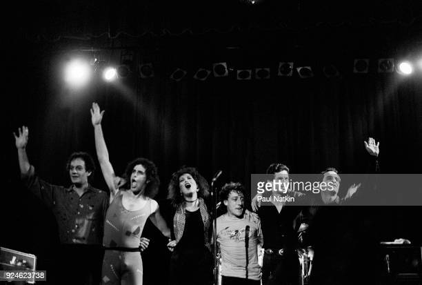 The Motels acknowledge the crowd after a performance at Northwestern University in Evanston Illinois October 15 1982 Left to right Scott Thurston Guy...