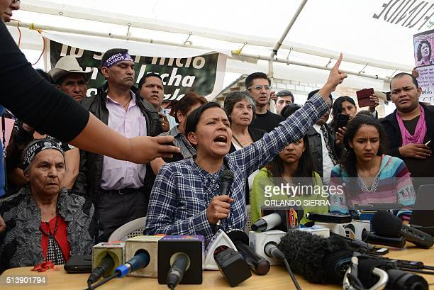 The mother and children of murdered indigenous activist Berta Caceres Austraberta and Olivia Laura Berta and Salvador Zuniga offer a press conference...