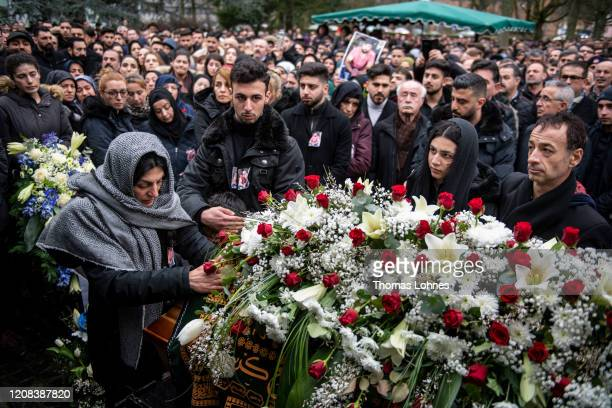 The mother and father attend with the family and friends the funeral of Ferhat Unvar, one of the victims of last week's mass shooting on February 24,...