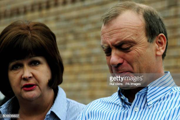 The mother and father of British teacher, Lindsay Ann Hawker who was murdered in Japan, Bill and Julia Hawker, speak to the media outside their home...