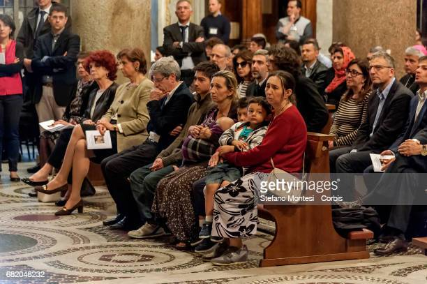 The mother Mila aunt and two brothers of the victims during the mass of prayer in memory of the three Roma girls killed in the Camper Fire in the...
