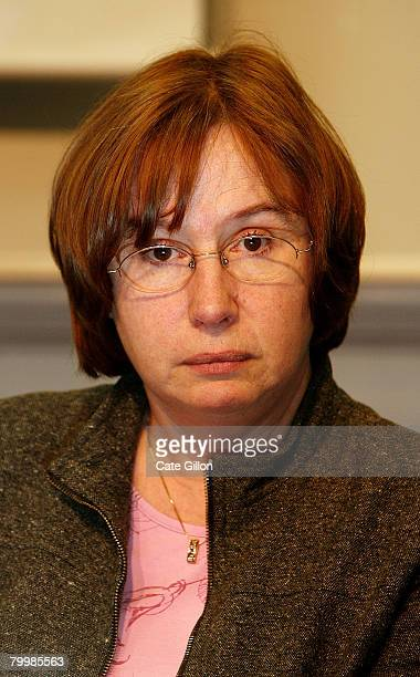 The mother of Amelie Delagrange Dominique listens during a press conference at Snow Hill Police Station on February 25 2008 in London England Former...