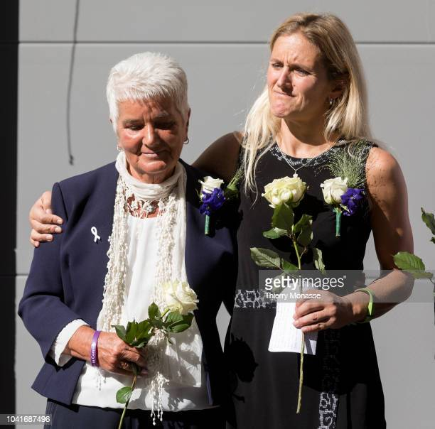 The mother of Jo Cox Jean Leadbeater and her daughter Kim Leadbeater attend a ceremony ceremony to name a square in honor of slain British Labour MEP...