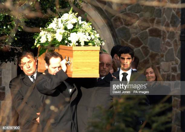 The mother of murdered British backpacker Katherine Horton Elizabeth and brother Christopher follow her coffin after the funeral service at St Isan's...