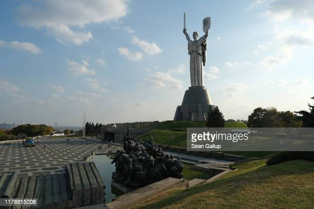The Motherland Monument, which commemorates Soviet sacrifice during World War II, stands on October 03, 2019 in Kiev, Ukraine. The statue is 62...
