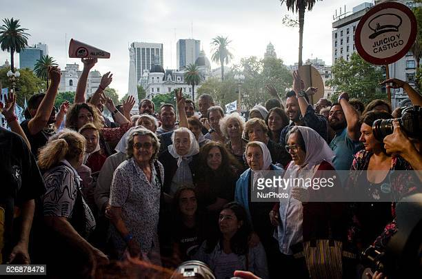 The Mothers of the Plaza de Mayo made a final photo in front of the whole crowd present on March 24 2016 in Buenos Aires About 30000 people went...
