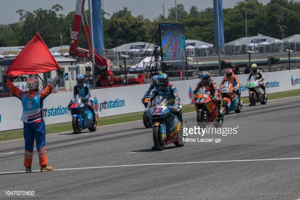 The Moto2 riders ready to start from the grid during the Moto2 race during the MotoGP Of Thailand Race on October 7 2018 in Buri Ram Thailand