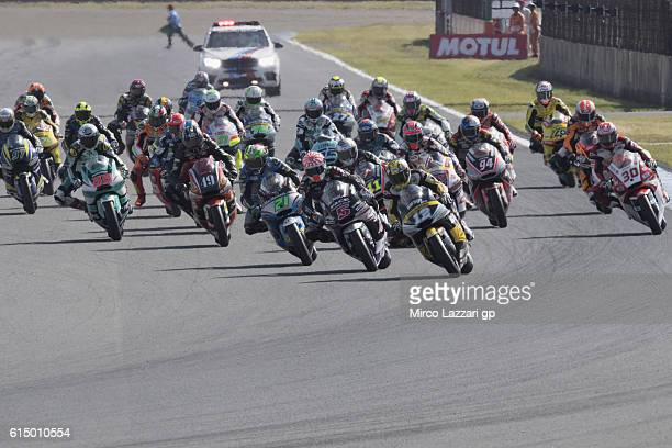 The Moto2 riders start from the grid during the Moto2 race during the MotoGP of Japan Race at Twin Ring Motegi on October 16 2016 in Motegi Japan
