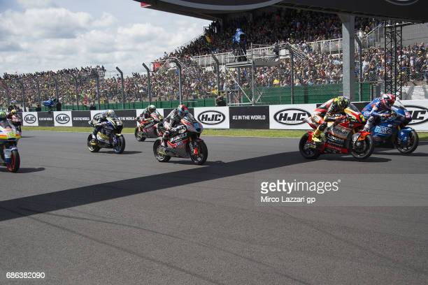 The Moto2 riders start from the grid during the Moto2 race during the MotoGp of France Race on May 21 2017 in Le Mans France