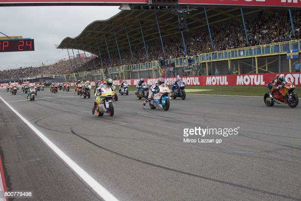 The Moto2 riders start from the grid during the Moto2 Race during the MotoGP Netherlands Race on June 25 2017 in Assen Netherlands