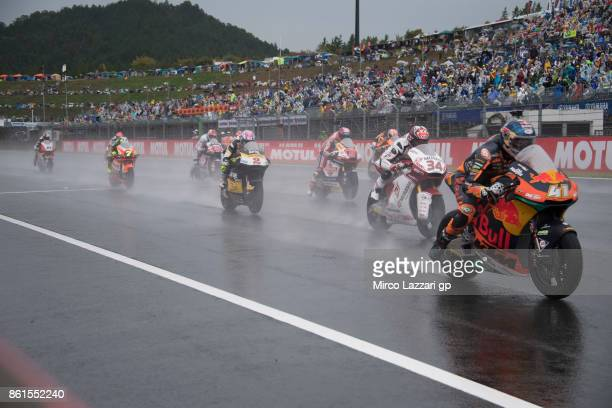 The Moto2 riders start from the grid during the Moto2 race during the MotoGP of Japan Race at Twin Ring Motegi on October 15 2017 in Motegi Japan