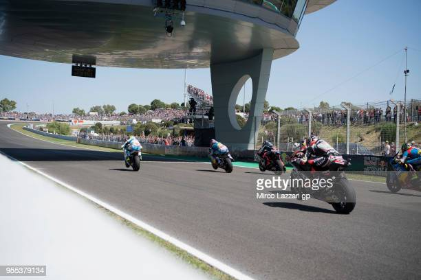 The Moto2 riders start from the grid during the Moto2 race during the MotoGp of Spain Race at Circuito de Jerez on May 6 2018 in Jerez de la Frontera...