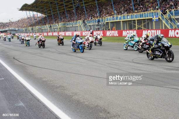 The Moto3 riders start from the grid during the Moto3 Race during the MotoGP Netherlands Race on June 25 2017 in Assen Netherlands
