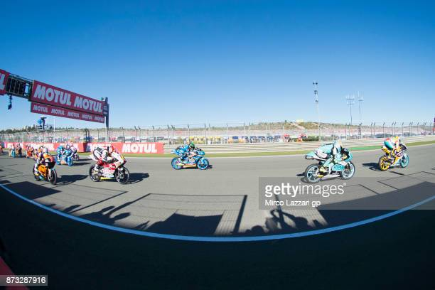 The Moto3 riders start from the grid during the Moto3 race during the Comunitat Valenciana Grand Prix Moto GP at Comunitat Valenciana Ricardo Tormo...