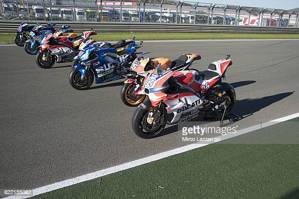 The MotoGP bikes winners park on track during the photo opportunity during the MotoGP of Valencia Previews at Ricardo Tormo Circuit on November 10...
