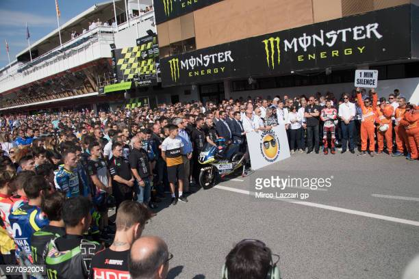 The MotoGP Family remember the young CEV rider Andreas Perez of Spain in pit before the Moto3 race during the MotoGp of Catalunya Race at Circuit de...