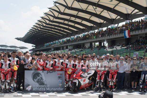 The MotoGP family remember the young rider Afridza Munandar of Indonesia with a minute of silence on track during the MotoGP of Malaysia Race at...