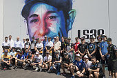 montmelo spain motogp riders pose during