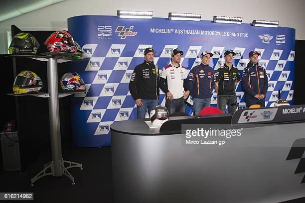 The MotoGP riders pose during the press conference at the end of the qualifying practice during the qualifying practice during qualifying for the...