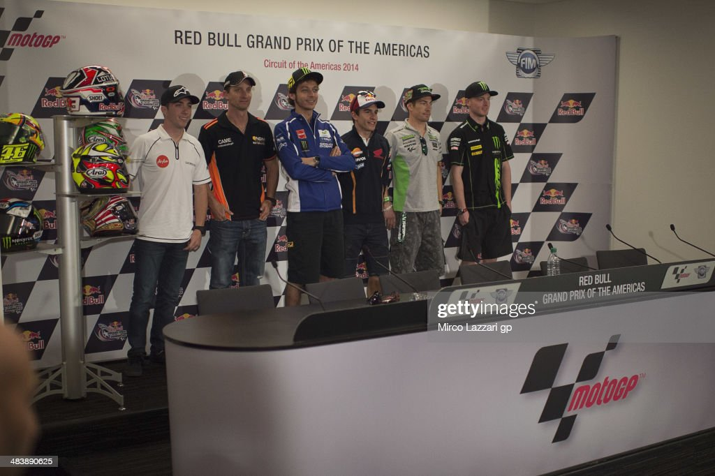 The MotoGP riders pose during the press conference pre-event during the MotoGp Red Bull U.S. Grand Prix of The Americas - Previews at Circuit of The Americas on April 10, 2014 in Austin, Texas.