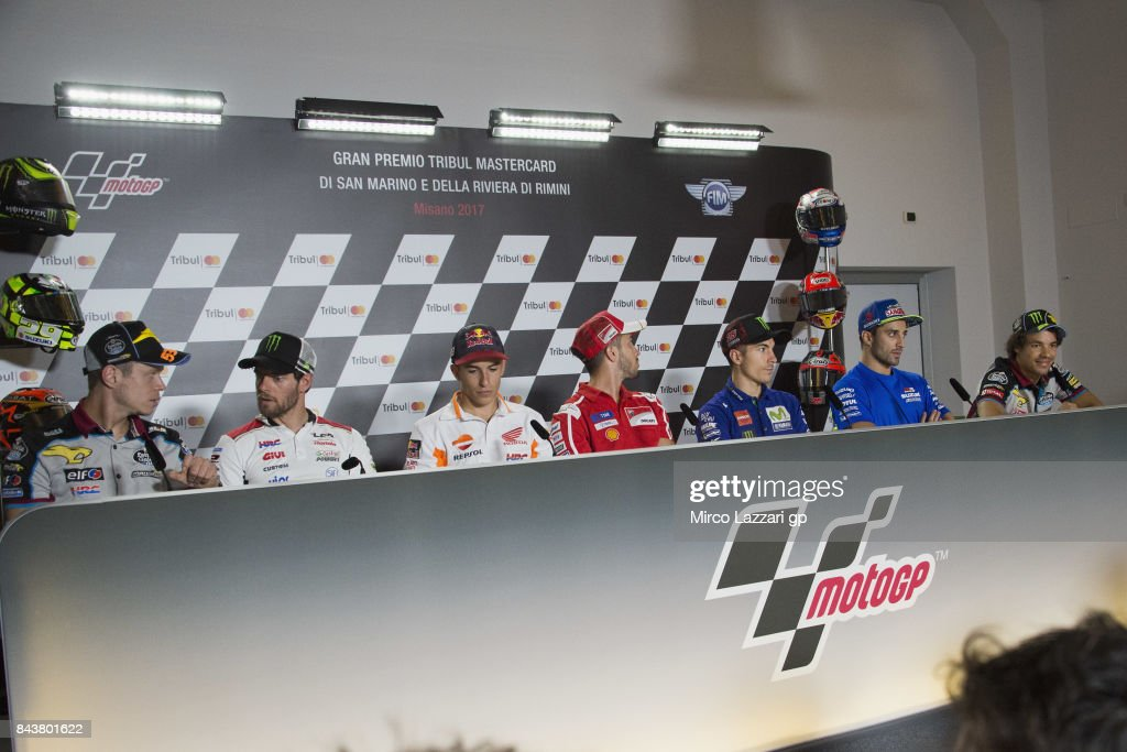 The MotoGP Riders pose during the press conference pre-event during the MotoGP of San Marino - Previews at Misano World Circuit on September 7, 2017 in Misano Adriatico, Italy.