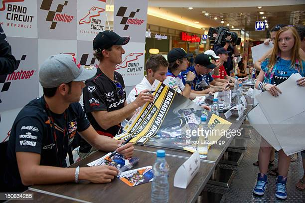 The MotoGP riders signs autographs for fans during the preevent QA and autograph session in Vankovka Mall in Brno during the MotoGp of the Czech...