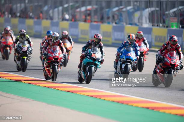 The MotoGP riders start from grid during the MotoGP race during the MotoGP of Aragon at Motorland Aragon Circuit on October 18, 2020 in Alcaniz,...