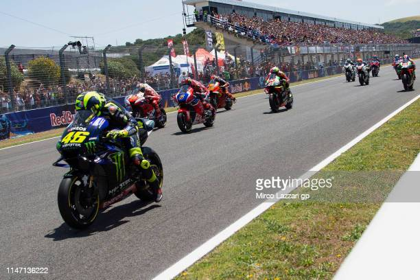 The MotoGP riders start from the grid during the MotoGp of Spain - Race at Circuito de Jerez on May 05, 2019 in Jerez de la Frontera, Spain.