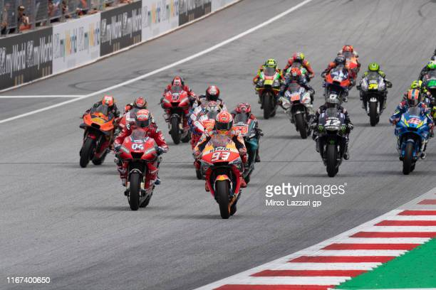 The MotoGP riders start from the grid during the MotoGP race during the MotoGp of Austria - Race at Red Bull Ring on August 11, 2019 in Spielberg,...