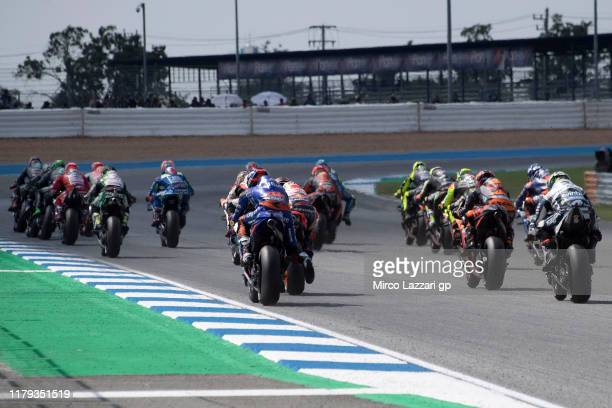 The MotoGP riders start from the grid during the MotoGP race during the MotoGP race during the MotoGP of Thailand - Race on October 06, 2019 in...