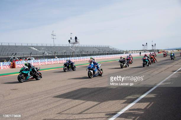 The MotoGP riders start from the grid during the MotoGP race during the MotoGP of Teruel at Motorland Aragon Circuit on October 25, 2020 in Alcaniz,...