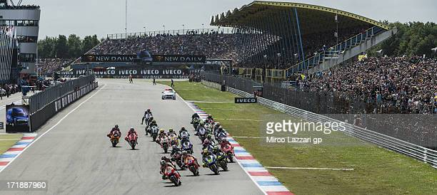 The MotoGP riders start from the grid during the MotoGP race during the MotoGp Of Holland Race at TT Circuit Assen on June 29 2013 in Assen...