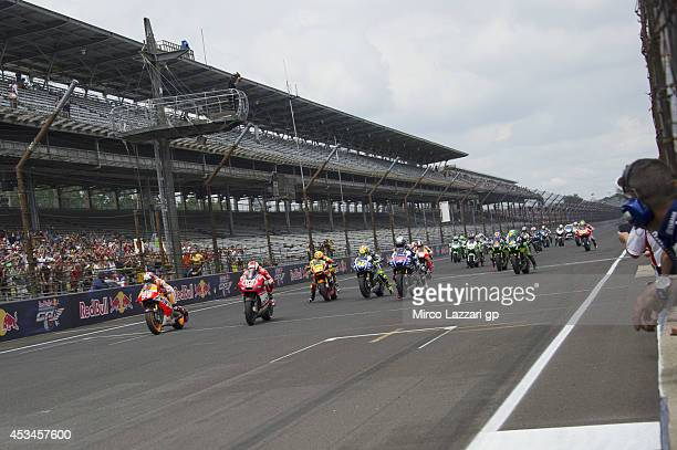The MotoGP riders start from the grid during the MotoGP race during the MotoGp Red Bull US Indianapolis Grand Prix Race at Indianapolis Motor...