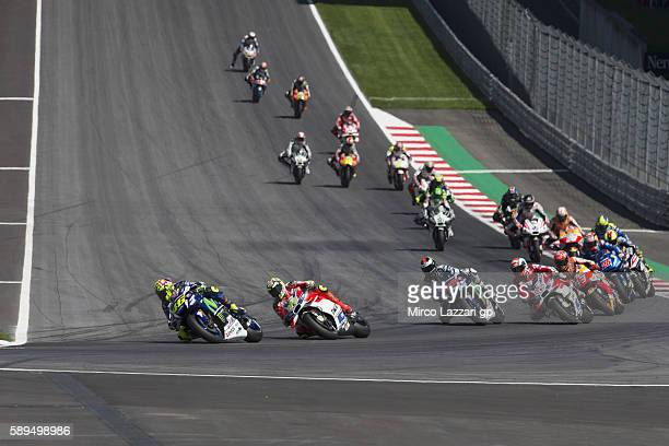 The MotoGP riders start from the grid during the MotoGP race during the MotoGp of Austria Race at Red Bull Ring on August 14 2016 in Spielberg Austria