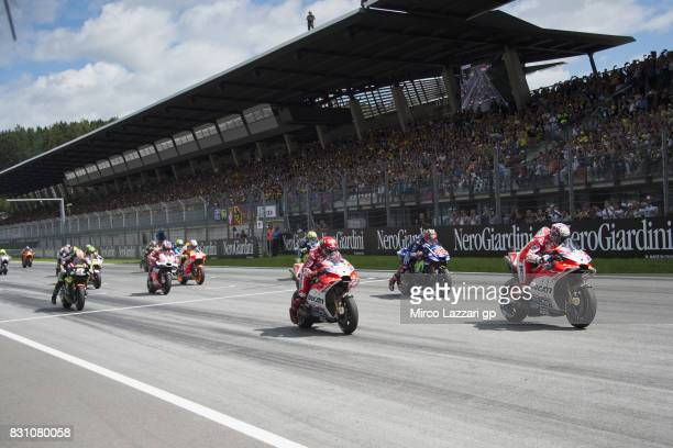 THe MotoGP riders start from the grid during the MotoGP race during the MotoGp of Austria Race at Red Bull Ring on August 13 2017 in Spielberg Austria