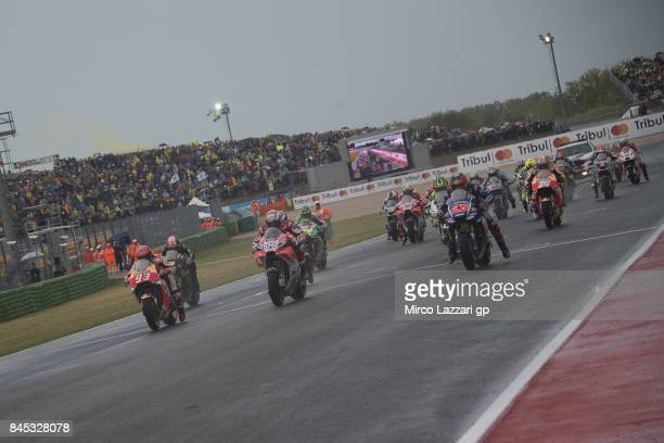 The MotoGP riders start from the grid during the MotoGP Race during the MotoGP of San Marino Race at Misano World Circuit on September 10 2017 in...