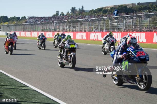 The MotoGP riders start from the grid during the MotoGP race during the Comunitat Valenciana Grand Prix Moto GP at Comunitat Valenciana Ricardo Tormo...