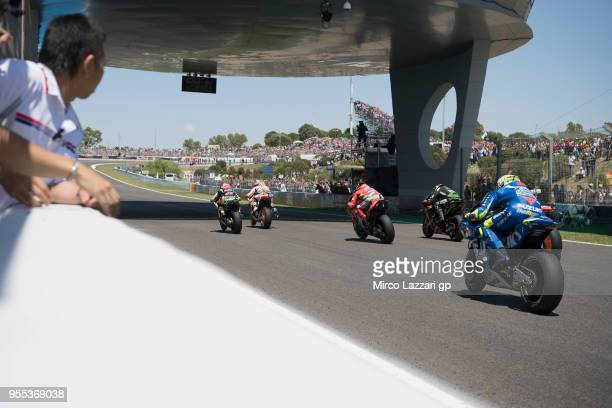 The MotoGP riders start from the grid during the MotoGp race during the MotoGp of Spain - Race at Circuito de Jerez on May 6, 2018 in Jerez de la...