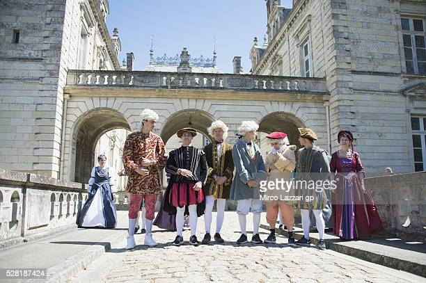 The MotoGP riders walk during a preview event at the Chateau du Lude ahead of the MotoGp of France on May 4 2016 in Le Lude France