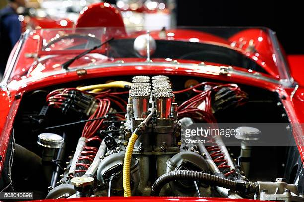 The motor of the Ferrari 335 S Spider Scaglietti from the Pierre Bardinon collection is displayed for auction during the Retromobile show on February...