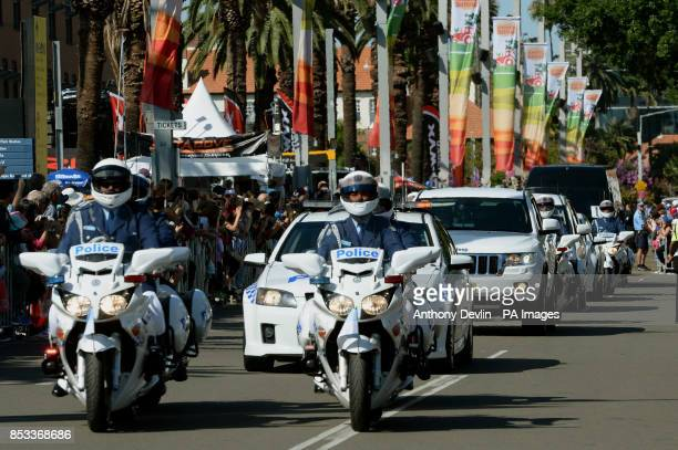 The motorcade arrives as the Duke and Duchess of Cambridge visit the Royal Easter Show at Sydney Olympic Park during the twelfth day of their...