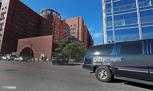 "The motorcade carrying James ""Whitey"" Bulger back to the Plymouth House of Correction leaves the John Joseph Moakley United States Courthouse..."