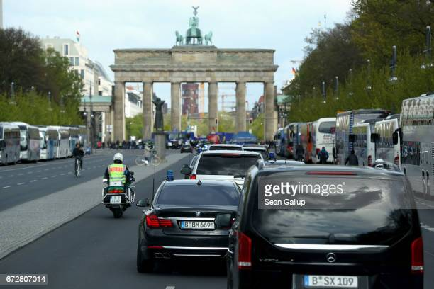 The motorcade of Ivanka Trump daughter of US President Donald Trump is seen in front of the Brandenburg Gate on April 25 2017 in Berlin Germany...