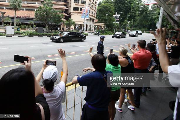 The motorcade of North Korean leader Kim Jongun leaves for Capella Hotel on June 12 2018 in Singapore The historic meeting between US President...